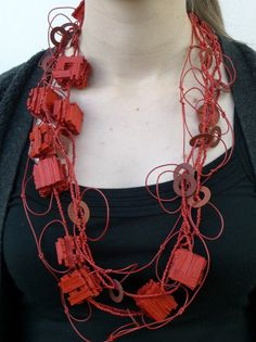 KATE BARTON-NZ 'Something Else' – Morse encoded necklace, wood, paint, glass beads, electrical wire, paper, nylon monofilament, 2006