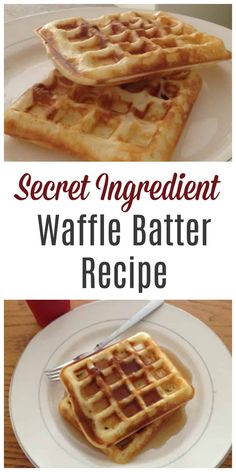 Absolutely delicious homemade waffle batter recipe with a secret ingredient! Absolutely delicious homemade waffle batter recipe with a secret ingredient! Mini Waffle Recipe, Homemade Waffle Mix, Waffle Batter Recipe, Waffle Mix Recipes, Homemade Waffles, Waffle Recipe With Bisquick, Easy Crispy Waffle Recipe, Simple Waffle Recipe, Pancake