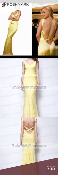 """""""Kate Hudson"""" Formal Dress Perfect for prom! Yellow backless gown like in """"How to Lose A Guy in 10 Days"""". Purchased from another posher, it just fits me a bit tight now. Beautiful gown with train. It has been altered under the arms to create a sleeker look, however this is easily undone. There is no tag, but I believe it came from """"TheCelebrityDresses.com"""" and it fits closest to their size 2 measurements. Can fit sizes 0 or 2. thecelebritydresses.com Dresses Prom"""
