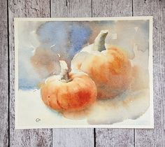 Pumpkins Watercolor Print 8x10 inches Fall by CMwatercolors