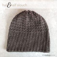 Half & Half Slouch Crochet Hat  |  Free Slouchy Hat Crochet Pattern by Little Monkeys Crochet