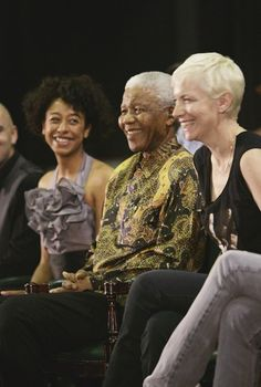 """I recently found this picture on the internet so I had to share this with you . Nelson Mandela's 46664 event, South Africa, to raise awareness of HIV/AIDS. Annie Lennox is a warrior for this cause, especially for preventing transfer from mothers to children, www.annielennoxsing.com. Look at my smile!!! What an honour!"" - @Corinne Bailey Rae"