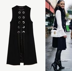 NWT ZARA OLIVIA PALERMO SIZE M LONG BLACK SLEEVELESS VEST WAIST COAT 2040/744 | Clothing, Shoes & Accessories, Women's Clothing, Vests | eBay!