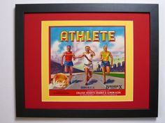 Early 50s Original Athlete, Runners, Sunkist Orange Fruit Crate Label w. New Conservation Framing, CA. USA        by FruitCrateLabelArt, $98.00