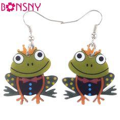 Bonsny Drop Frog Earrings Long Big Acrylic Dangle Earrings Fashion Brand Jewelry For Women 2015 News Style Accessories