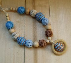 SALE Blue Brown Crochet Nursing necklace Organic by NittoMiton