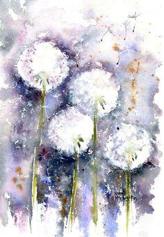Dandelion Drawing, Dandelion Painting, Dandelion Clock, Watercolor Flowers, Watercolor Paintings, Beginner Painting, Love Painting, Painting Inspiration, Flower Art