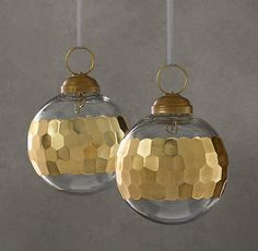 Banded Faceted Metallic Ornament - Gold (Set of 2)