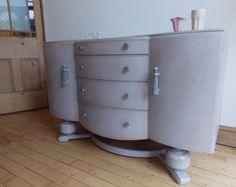 Vintage Shabby Chic 1950s Bow Fronted Sideboard / by EmmettsChair, £195.00