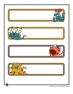 Printable Name Cards and Bulletin Board Decorations Printable Name Plates - Cute Monsters – Classroom Jr.