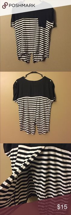 Papermoon for Stitch Fix Striped split back shirt This shirt has a super cute open split back. Great condition! No tags were ever cut out, but there is no size tag. This is from stitch fix and I always get a small. Papermoon Tops Blouses