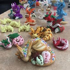 Image may contain: food Polymer Clay Dragon, Polymer Clay Kawaii, Polymer Clay Figures, Polymer Clay Animals, Polymer Clay Charms, Polymer Clay Art, Clay Art Projects, Polymer Clay Projects, Polymer Clay Creations