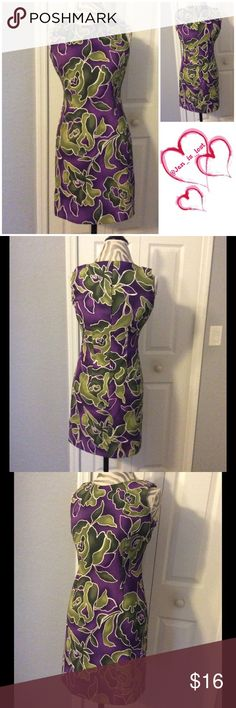 """Kim Rodgers 6P Dress Kim Rodgers 6P Dress Beautiful royal purple dress with green roses.  Worn one time still looks new.  Measures 17"""" across the bust, 14 1/2"""" across the waist, 34"""" from shoulder hem to bottom.  97% polyester 3% spandex.  Looks like new. Tags torn and never wore. Kim Rogers Dresses"""