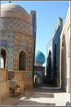 Streets of Samarkand, Uzbekistan are meant to be cool. The temperature during the summer can get as high as Church Architecture, Architecture Photo, Sidewalk Cafe, Arabic Design, City Landscape, Silk Road, Sacred Art, Moorish, Central Asia