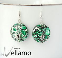 Sterling silver earrings with green mosaic turquoise by byVellamo, $17.00