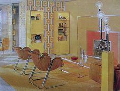 Mod Graphic Orange Yellow Vintage Interior Design Photo by Christian Montone House Design Photos, Cool House Designs, Home Design, 1960s Interior Design, Interior Design Photos, Retro Design, Modern Design, Vintage Space, Vintage Room