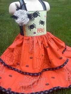 Halloween 2012--EEEEEK--Gorgeous Twirl Knot dress--6m to 8y. $60.00, via Etsy.