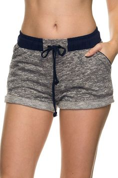 Temperature has started to rise! Perfect for this melange pocket shorts with folded cuffs, shirred waist, and drawstring. Team it with a cute graphic tee and rock with crazy printed Toms for an ultima Jogger Shorts, Sport Shorts, Joggers, Cute Shorts, Casual Shorts, Comfy Shorts, Navy Shorts, Summer Outfits, Cute Outfits