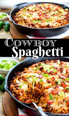 You'll bring the heat to supper any day of the week when you serve this pasta skillet filled with beefy Cowboy Spaghetti. Top Recipes, Mexican Food Recipes, Dinner Recipes, Cooking Recipes, Dinner Ideas, Cooking Cake, Entree Recipes, Meal Recipes, Healthy Recipes