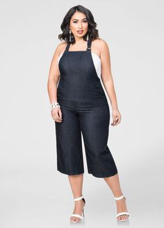 87b8d6a64bba5 Capri Gaucho Overall Jumpsuit-Plus Size Jeans-Ashley Stewart