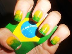 Marble Brazil nails design for Brasil 2014 FIFA world cup , football, flag