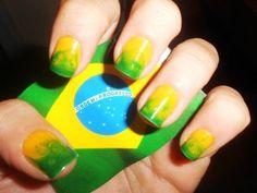 Marble Brazil nails design for Brasil 2014 FIFA world cup , football, flag