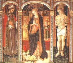 """Vittore Crivelli - Trittico di Cupra """"Madonna adorante il bambino, tra San Basso e San Sebastiano"""" - Cupramarittima, Chiesa parrocchiale di San Basso"""