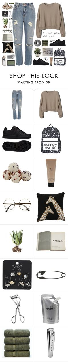 """small talk"" by novalikarida ❤ liked on Polyvore featuring River Island, adidas, Giorgio Armani, Jonathan Adler, Alöe, NARS Cosmetics, Assouline Publishing, Topshop, Other and Lancôme"