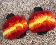 Bella Burgundy Fox Fur Slides   Etsy