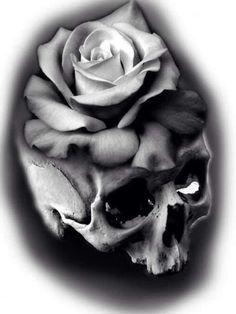 Skull Rose Tattoos, Pin Up Tattoos, Flower Tattoos, Body Art Tattoos, Sleeve Tattoos, Cool Tattoos, Skull Tattoo Design, Skull Design, Tattoo Designs