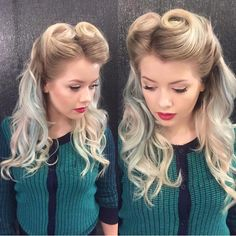Pinup hairstyle victory curls blond
