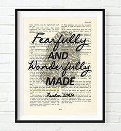 Nursery kids room decor wall art print black and white Vintage Bible verse scripture - Upcycled page - Fearfully and Wonderfully Made - Psalm 139:14 ART PRINT, UNFRAMED, dictionary wall & home decor poster, new baby gift #ad