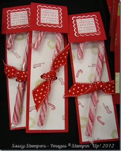 adorable and different! use small candycanes--one for each member of the family.