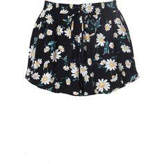Black Daisy Print Drawstring Shorts ($17) ❤ liked on Polyvore featuring shorts, multi, print shorts, draw string shorts, stretch waist shorts, daisy shorts and elastic waistband shorts