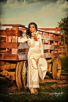 Blanca Marin - Charro outfit - Promotional ad View The Recipe Details Mexican Costume, Mexican Outfit, Mexican Dresses, Mexican Style, Charro Outfit, Charro Dresses, Mexican Quinceanera Dresses, Mariachi Quinceanera Dress, Charro Wedding