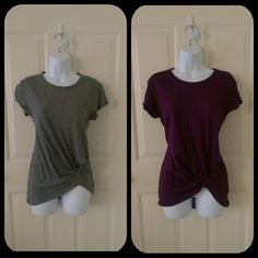 Bundle of two Express casual T's Get the MOST for your money with this bundle of two NWT gorgeous and sexy shirts from Express.  One grey and one maroon/wine-colored.  Both size XS. Express Tops Tees - Short Sleeve