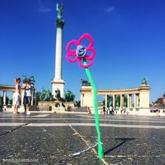 This cheery flower in Budapest. | 29 Times Yarn Graffiti Made The World A Better Place