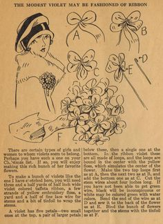 Home Sewing Tips from the 1920s - Corsage of Ribbon Violets