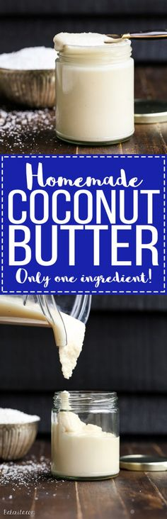 Homemade Coconut Butter has just one ingredient: coconut! It's easy to make at home in a food processor or high-powdered blender and can be used in TONS of ways - it's great as a spread on it's own and can also be used many different recipes.