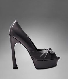 YSL Palais High Heel Pump with Bow in Black Leather