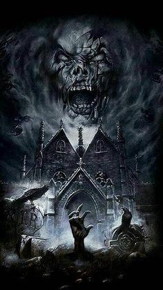 Dark Artwork, Skull Artwork, Dark Art Drawings, Zombie Drawings, Dark Fantasy Art, Fantasy Artwork, Graveyard Tattoo, Grim Reaper Art, Death Reaper
