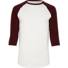 River Island White and red raglan T-shirt (60 RON) ❤ liked on Polyvore featuring men's fashion, men's clothing, men's shirts, men's t-shirts, mens tall t shirts, mens 3/4 sleeve shirts, mens white t shirts, mens cotton shirts and mens white cotton shirts