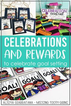 Using celebrations and rewards to encourage goal setting in the classroom is a great motivator. These activities for students to celebrate their success are meaningful, fun, and engaging. Reward coupons, reward tags, goal badges, goal crowns, and more! There's also a large poster that makes for a great bulletin board. Students loves these rewards for their goal setting for the new year or back to school.