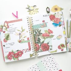 Full spread by littleblossem Planner Supplies, Planner Ideas, Garden Journal, Happy Mail, Art Journal Pages, Filofax, Project Life, Happy Planner, Washi Tape