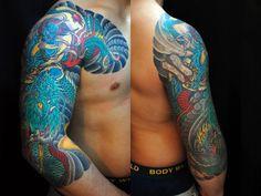 太鼓,七分袖,人物,龍のタトゥーデザイン|タトゥーナビ