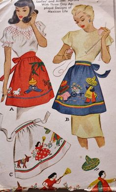 "Vintage apron pattern with appliques of ""Mexican life""."