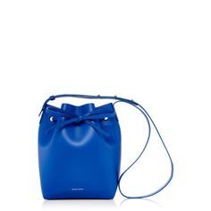 Mansur Gavriel Royal Blue Leather Mini Bucket Bag ($610) ❤ liked on Polyvore featuring bags, handbags, shoulder bags, genuine leather handbags, leather shoulder bag, mini bucket bag, white handbags and mini purse