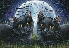 Black Kitties Halloween Painting
