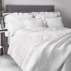 Frill Trim White Bedspread | Dunelm