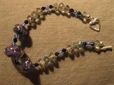 Bracelet, lampwork beads, sterling toggle by las81101 on Etsy